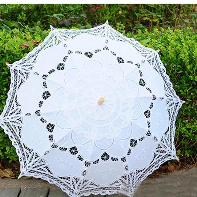 HS018 Top Selling Lace White&Ivory Embroidery Umbrella Cotton Battenburg Wedding Bridal Umbrella Parasol Umbrella Decoration
