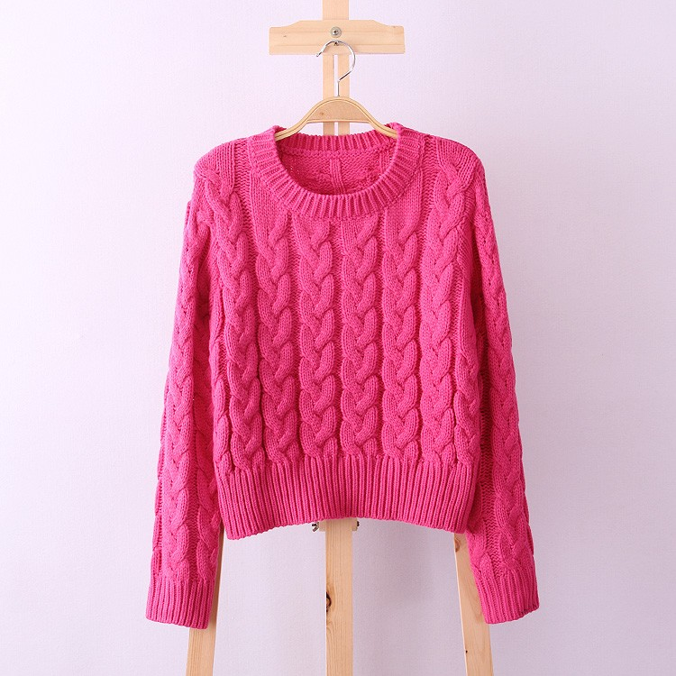 Retro Style Thick Line O-Neck Pullover Short Sweater Women Girl Spring 2016 (18)