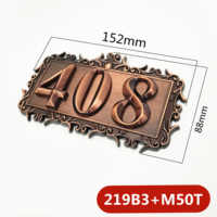 Three digits ABS Plastic Imitation Metal Bronze House Number Custom Sign Door Number Sticker For Hotel Apartment Door Plate
