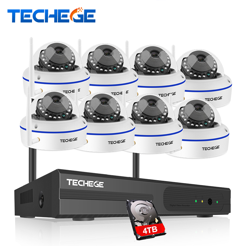 Techege 8CH HD 960P Wireless Camera CCTV System Wireless NVR Vandalproof Dome Camera Home Security System WIFI Surveillance Kit вибротвистер trout pro catepillar длина 6 см 10 шт 35504