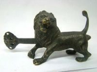 Exquisite Chinese old style Copper Carved lion lock and key