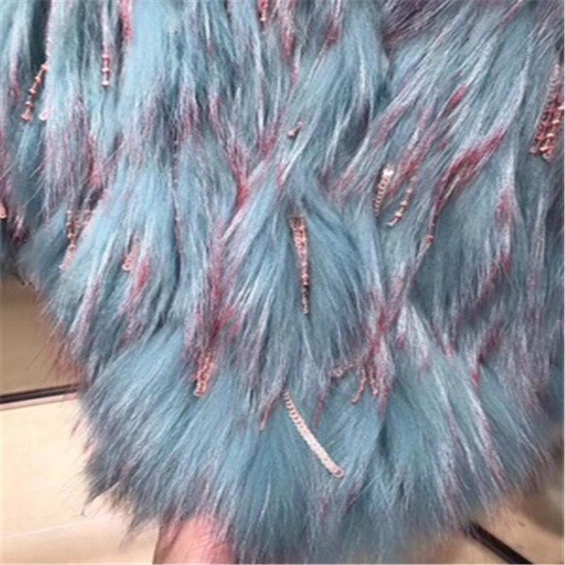 Hiver Survêtement De Veste Chaud Femelle Mode Manteau Nouvelle Femmes 2018 Col Court Green Rond Fourrure vrYwtUrq