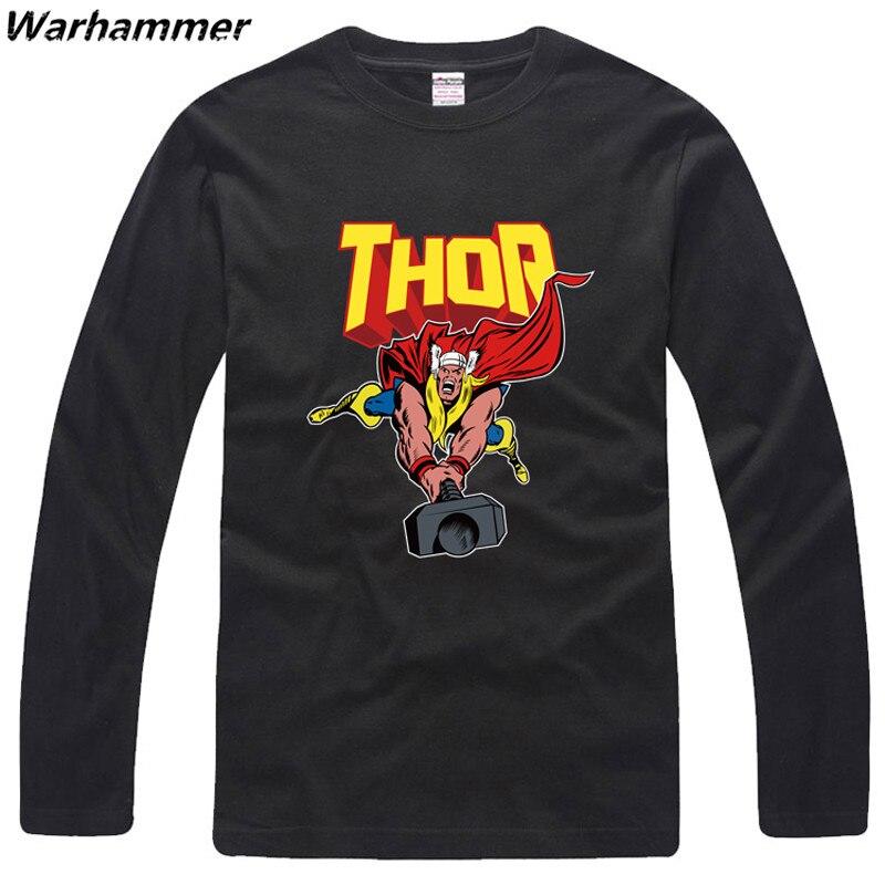 Warhammer THOR The Avengers Mens Long Sleeve T Shirt O-neck 100%cotton Print EU XXL Black Cartoon Fans Autumn T-Shirt Drop Ship