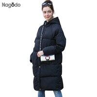 Nagodo зимняя куртка Для женщин Новинка 2017 года парка Femme средней длины хлопок теплый пальто Высокое качество пальто с капюшоном Большие разме...
