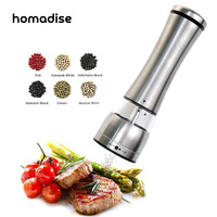 Stainless Steel Electric Automatic Salt Pepper Mills Grinder Spice Mill Battery Adjustable Kitchen Accessories Tools LED Light