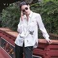 ВИНГ Женщин отложным Блузка Вышитая Шифона Рубашку Свободно Парадной Рубашки