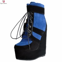 Original Intention New Fashion Women Ankle Boots Charm Round Toe Wedges Boots Nice Black&Blue Shoes Woman Plus US Size 4 15