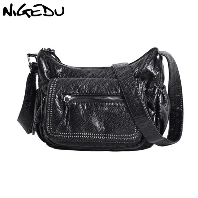 46a4bfe24236 Messenger bags for Women Shoulder Bags Soft Washed PU Leather Crossbody  Bags Large Fashion Rivet Female Purses and Handbag Black