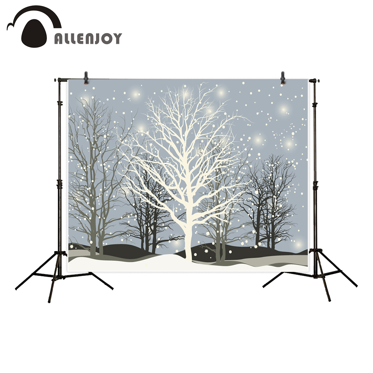 Allenjoy backdrop for photo winter tree snow Silhouette christmas background photo prop photocall photo studio for kids allenjoy christmas backdrop tree gift chandelier fireplace cute professional background backdrop for photo studio