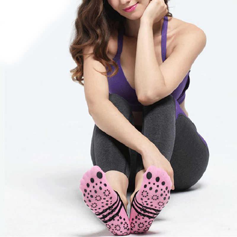 New Sports 1pair Black Pink Women Anti Slip Cotton Yoga Socks Ladies Sport Pilates Socks Professional Ballet Socks Dance Socks