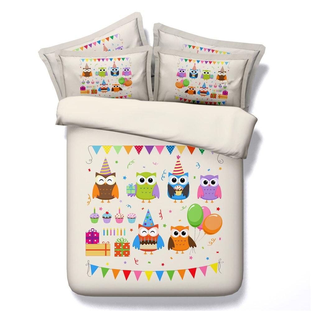 yeeKin New Design Animal Series Cotton Bedding Sets 3/4pcs 3D Printed Super Cute Rabbit/Cats/Cartoon Owl Quilt/Duvet Cover - 2