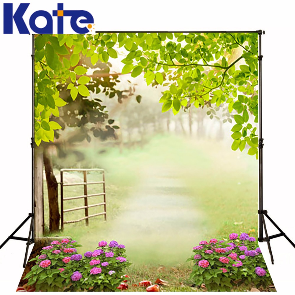 Kate Spring Green Leaves Photography Backdrops Fence Flowers Background for Photo Studio Plant Railing Camera Fotografia louis garden artificial flowers fake rose in picket fence pot pack small potted plant