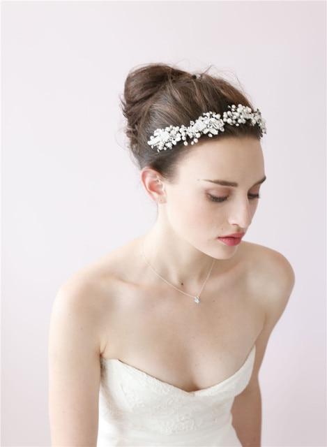Dower me Bridal Pearl Crystal Headband Elegant Tiara Handmade Wedding Party  Prom Hair Accessories Headpiece 6870d8c8511b