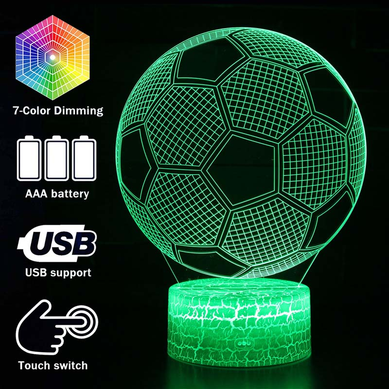 Magiclux Novelty Lighting 3D Illusion Football Model LED Lamp Kids Room Decoration Night Light Christmas Gifts For Soccer Fans