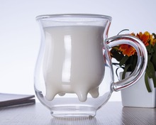 2 pcs/lot 200ml Heat-Resisting Glass Double Wall Cow Milk Cup Mug With Handle- Udder Style Creamer Pitcher Jug