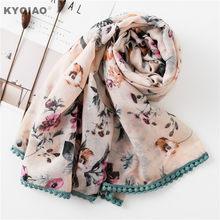 KYQIAO Mori filles automne hiver Japon style frais doux longue tête  d impression écharpe 2019 femmes hijab écharpe foulard foula. fe3daf8ad23