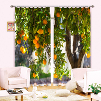 Senisaihon Modern style 3D Blackout Window Curtains Apple Grape Fruit Pattern Polyester kitchen Bedroom Curtains for Living Room