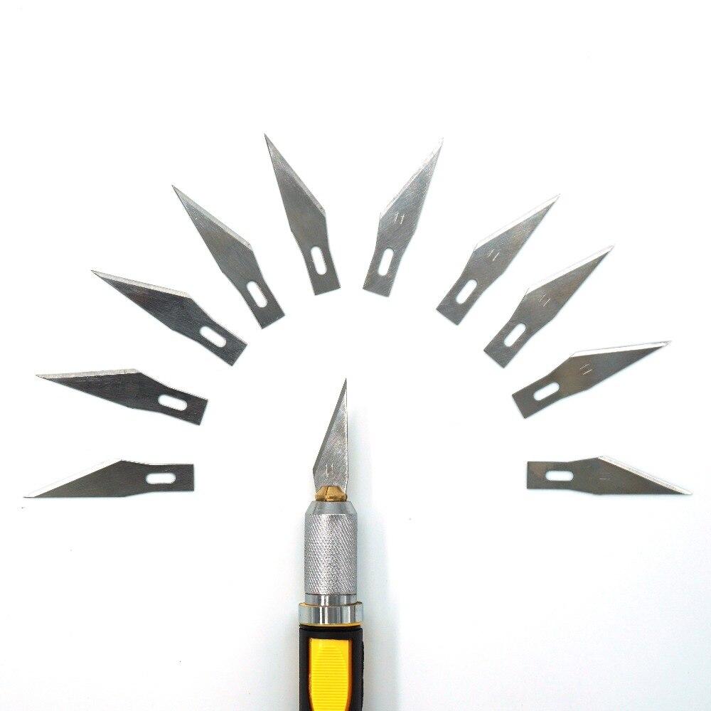 Escalpelo de Metal antideslizante + 10 Uds. De cuchillas para tallado de madera, cuchillos para fruta, escultura artesanal, cuchillo de Grabado, herramientas de mano WL-9302S