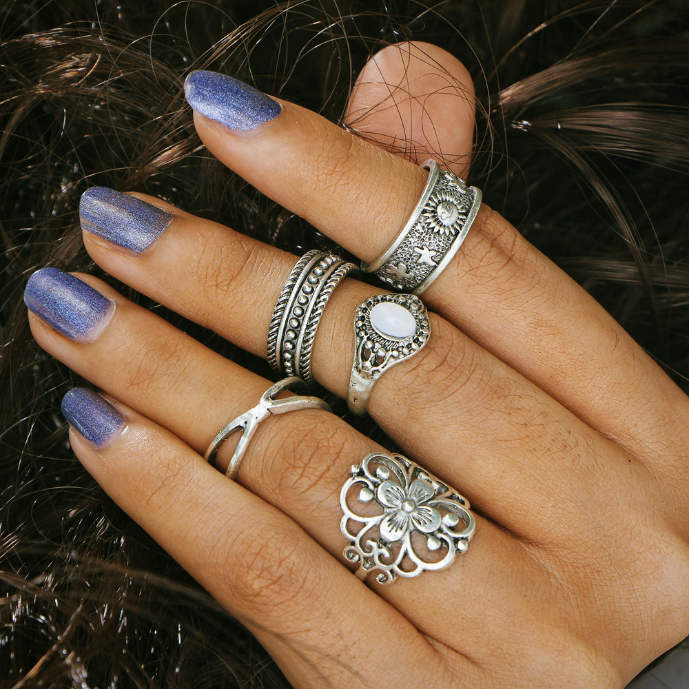 50 pieces/lot Hollow Flower Ring Women Antique Gold Silver Color Stone Carved Star Cross Midi Rings Set Knuckle Finger Jewelry