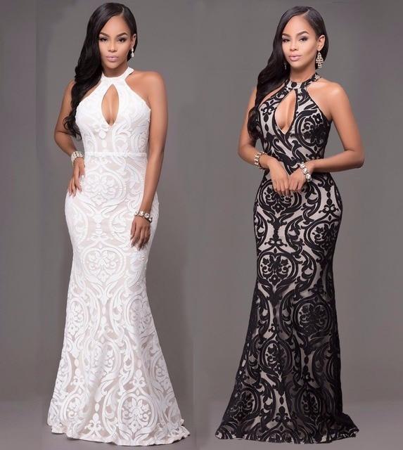 Женская Одежда Сексуальный Повязку Dress 2017 Лето Белый Черный Платья Элегантный Оболочка Холтер Bodycon Старинные Dress Vestido