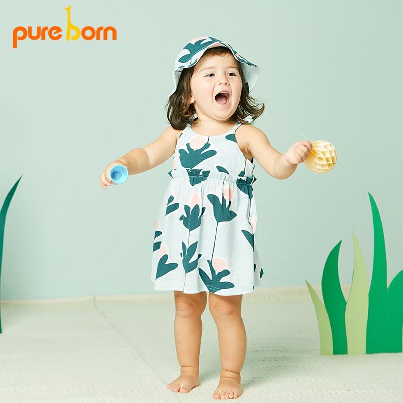 5551f8f540f5 Pureborn příčinné léto Baby Girl Dress Šaty květinové tisk pro dívky ...