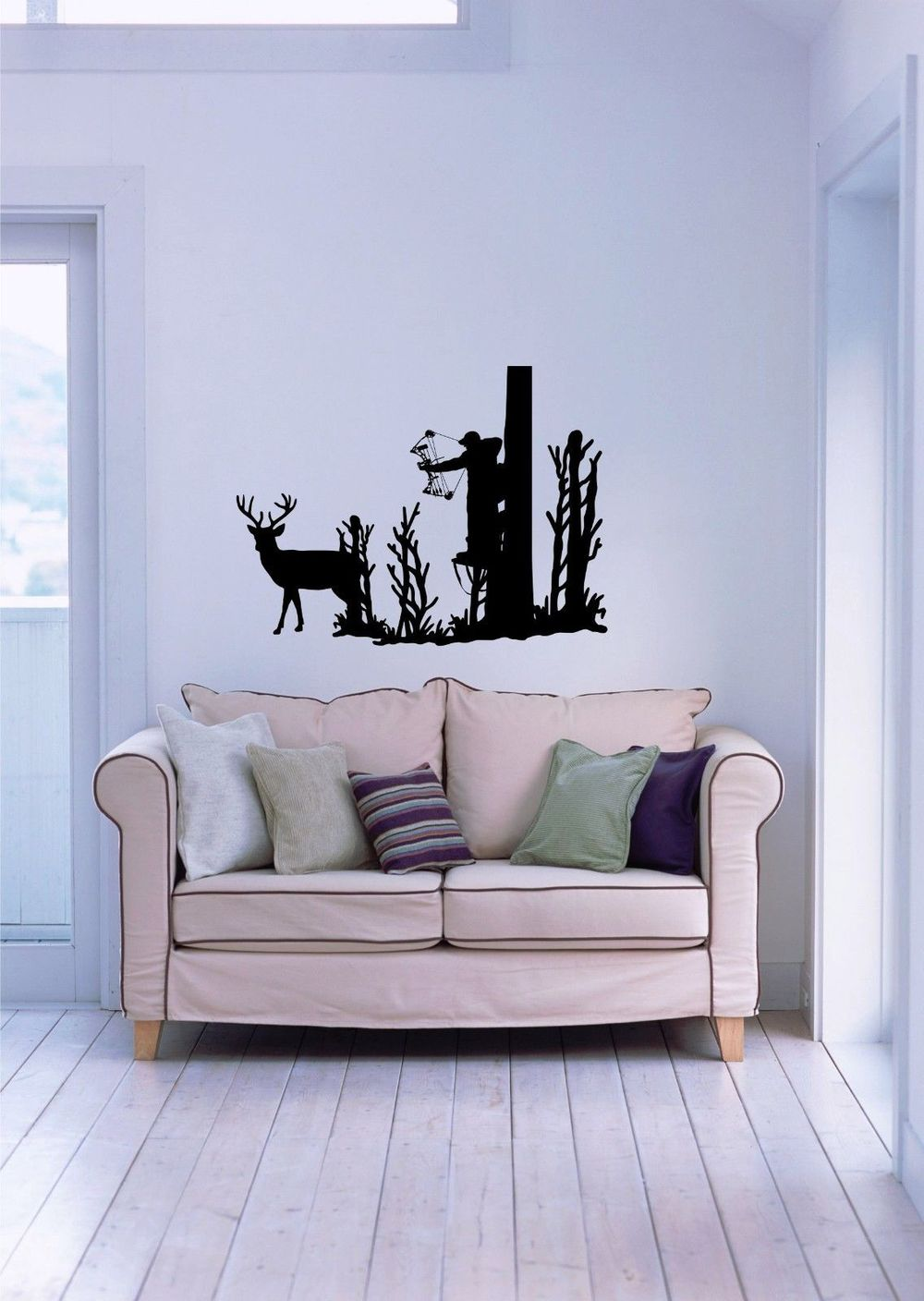 Modern Hunter Hunting Deer In The Forest Autocollants Muraux Wall Stickers  Vintage Posters For Living Room Decoration Wall Mural