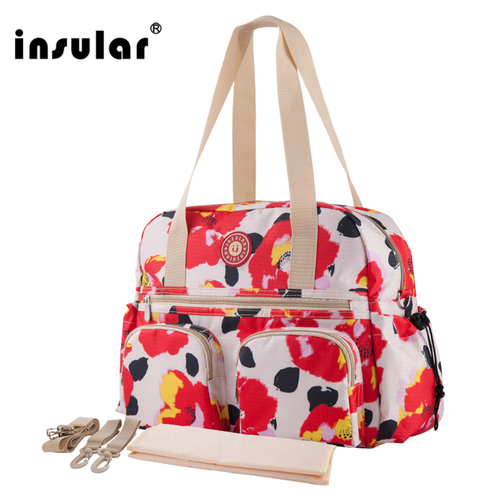 2017 New Style Insular Waterproof Printed Fashion Baby Diaper Bag Premium Qualit