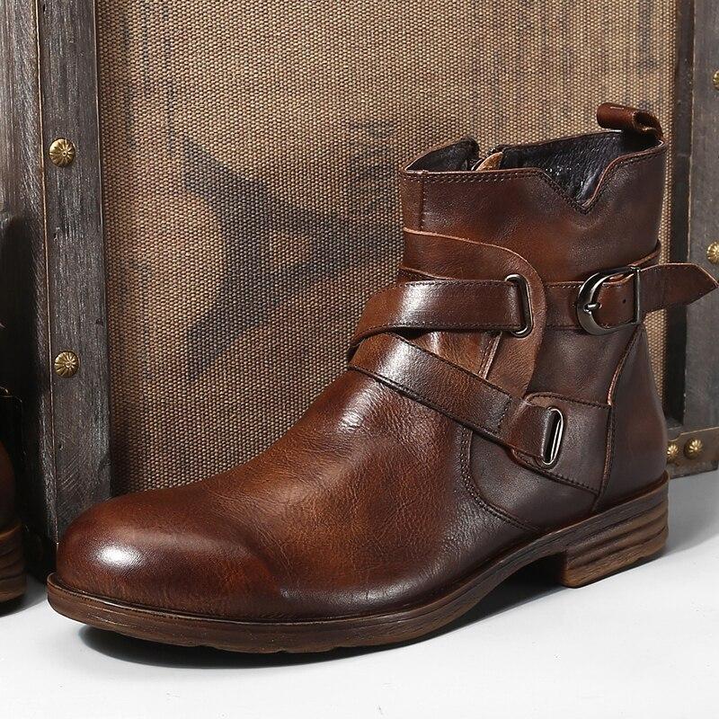 Fashion Vintage Stijl lederen Heren Laarzen Terug Rits Gesp Korte Laarzen Hot-in Chelsea Laarsen van Schoenen op  Groep 3