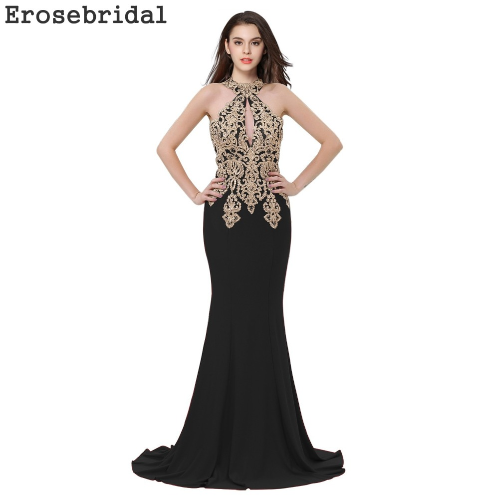 2019 Autumn New Evening Dress Long Black Mermaid Evening Gowns Robe De Soiree with Sweep Train