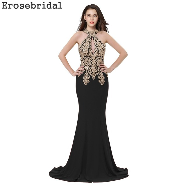 4795fad270afe 2018 Autumn New Evening Dress Long Black Mermaid Evening Gowns Robe De  Soiree with Sweep Train Gold Appliques 48 Hours Shipping-in Evening Dresses  ...