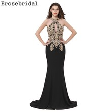 2019 Autumn New Evening Dress Long Black Mermaid Gowns Robe De Soiree with Sweep Train Gold Appliques 48 Hours Shipping