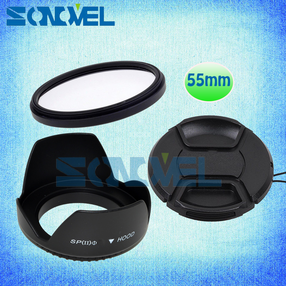 55mm Filtre UV + front Lens Cap + Fleur Lens Hood Pour Nikon D5600 D5500 D5300 D7500 D3400 D3300 D750 D5 et Nikon AF-P 18-55mm objectif