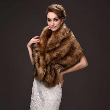 Popular Browns Faux Fur Stoles Wedding Bolero Women Winter Wedding Coat One Size Wedding Accessories 1 Piece Free Shipping