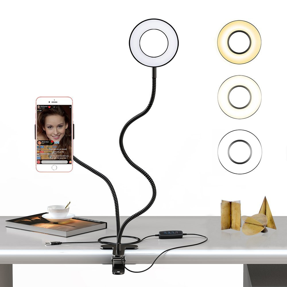 Cell Phone Holder with Selfie Ring Light for Live Stream, Dimmable with Flexible Arms Phone Clip Holder Lazy Bracket Desk Lamp 1 4 camera selfie rod cell phone holder clip set red silver