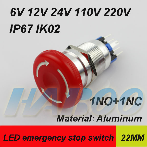 1PCS packing HABOO emergency stop switch with led mushroom head led lighting switch 6v 12v 24v 110v 220v shiiping free