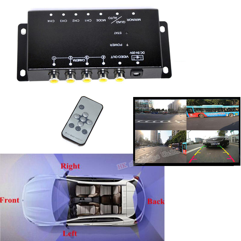 Image Video Control Image Switch 4 Split-Screen Control Box Converter For Left view Right view Front Rear Parking Camera Box ebsd image