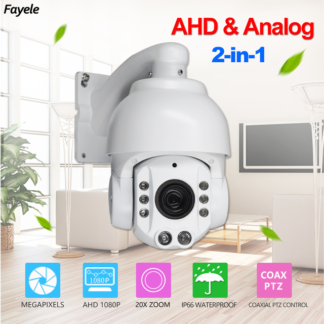 """CCTV IP66 Outdoor Indoor 4"""" MINI 2-in-1 Analog AHD 1080P Speed Dome PTZ Security Camera Coaxial PTZ Control 20X ZOOM IR 130M"""