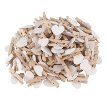 Party Photo Paper Heart Shape Crafts Mini Wooden Clip Peg 100 pcs White
