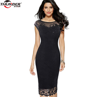 2018 Women Summer Plus Size Retro Vintage Bodycon Lace Embroidery Evening Party Black Red Work Pencil Office Dress