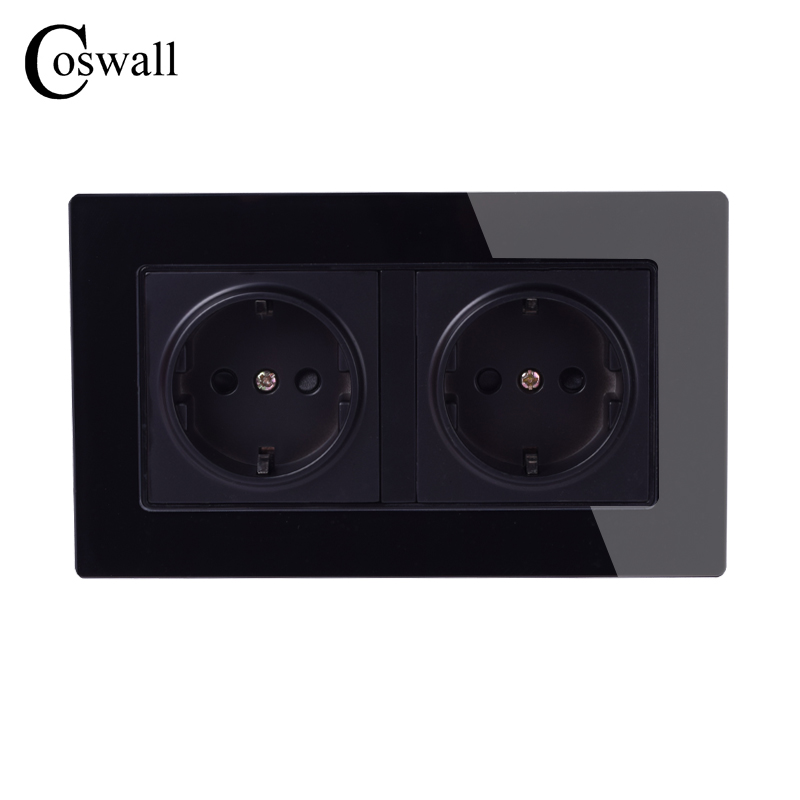 Coswall Wall Crystal Glass Panel Power Socket Grounded 16A EU Standard Electrical Black Double Outlet 146mm * 86mm coswall 16a eu standard wall double socket dimmer regulator light switch stainless steel panel 236 86mm