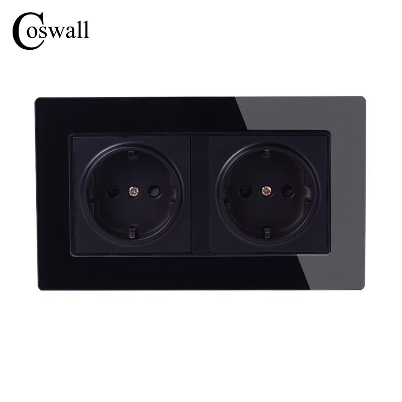 Toma de corriente de Panel de cristal de pared Coswall con conexión a tierra 16A EU Estándar Eléctrico negro doble salida 146mm * 86mm