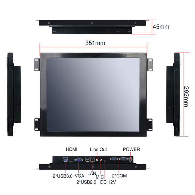 Yanling Factory Core i5 4200u all in one computer with 15'' LCD Resistive Touchscreen Panel PC Support LVDS VGA HDMI Display 3