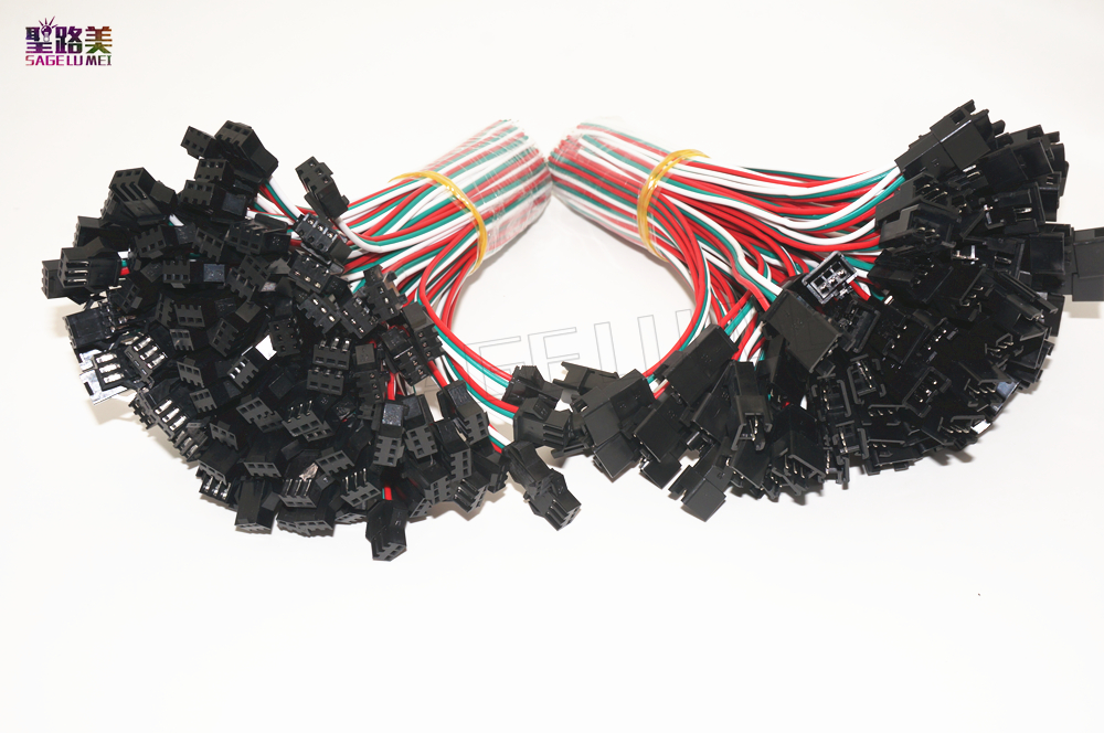 100 Pairs 3 Pin JST SM Connectors For WS2812B WS2811 WS2812 RGB LED Strip Tape Female to Male