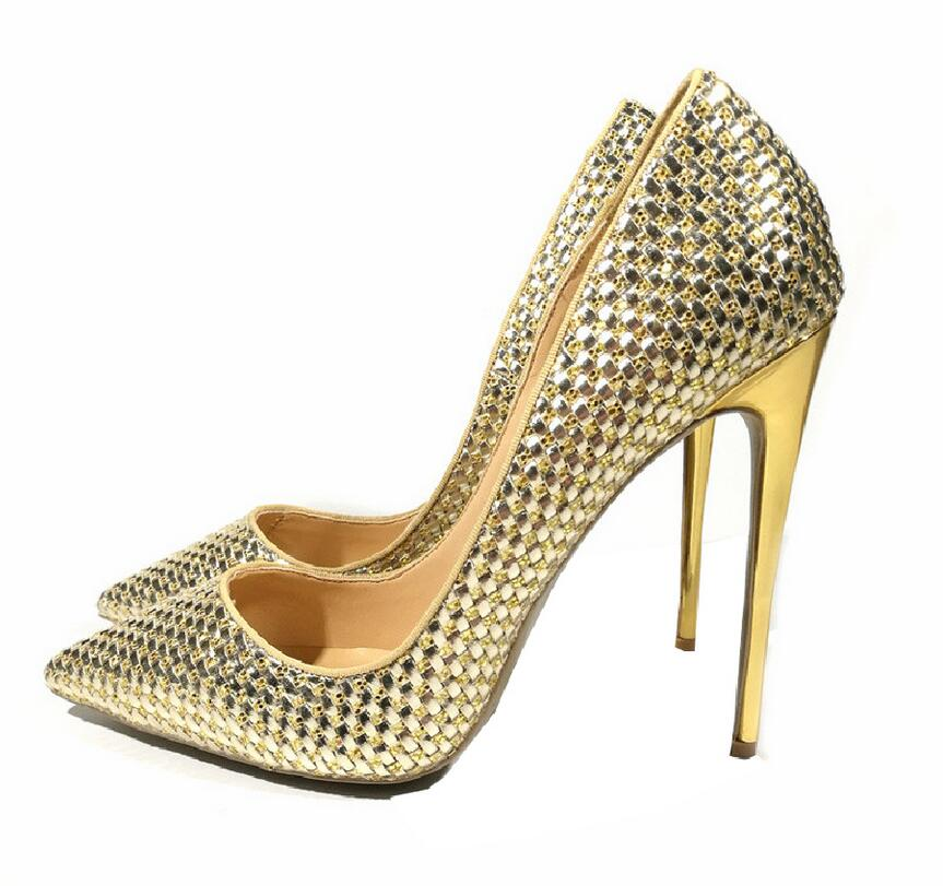 Amiable Yx Girl Gold High Heels Sexy Women Shoes Party Zapatos Mujer Size 35-42 Bridal Shoes