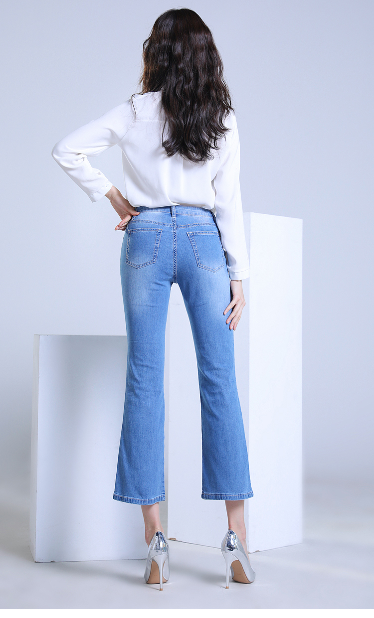 KSTUN FERZIGE high waist jeans woman summer 2019 elasticity light blue ultrathin breathable bell-bottomed pants jean femme large size 16