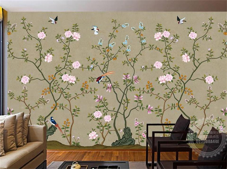 custom 3d photo wallpaper kids room mural hand-painted birds and flowers  painting TV background non-woven wallpaper for wall 3d custom baby wallpaper snow white and the seven dwarfs bedroom for the children s room mural backdrop stereoscopic 3d