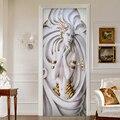 Große Wandbilder 2 teile/satz PVC Wasserdichte Tür Aufkleber 3D Stereoskopischen Kunst Statue Wohnzimmer Schlafzimmer Tür Dekoration Wandbild Tapete-in Türaufkleber aus Heim und Garten bei