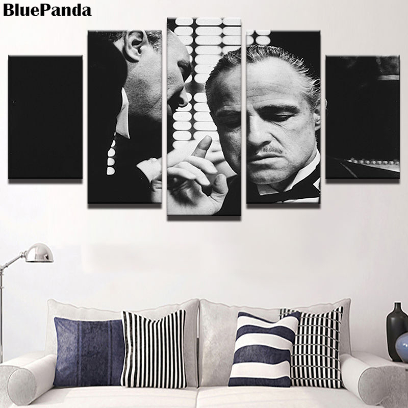 Godfather Gangster Movie Poster Oil Canvas Paintings Decoration 5 Pieces Pictures For Living Room Office Home Decor image
