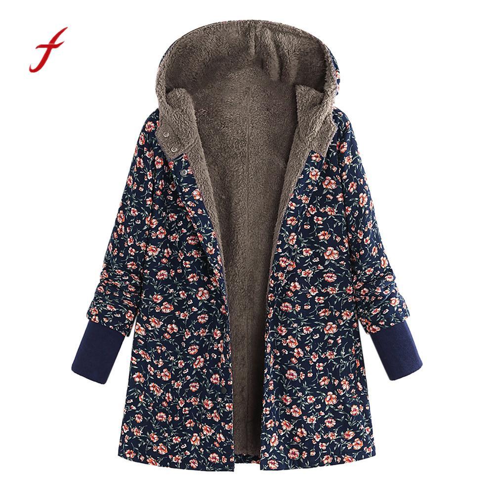 US Womens Fleece Hoodie Button Long Coat Jacket Winter Windproof Outwear Tops