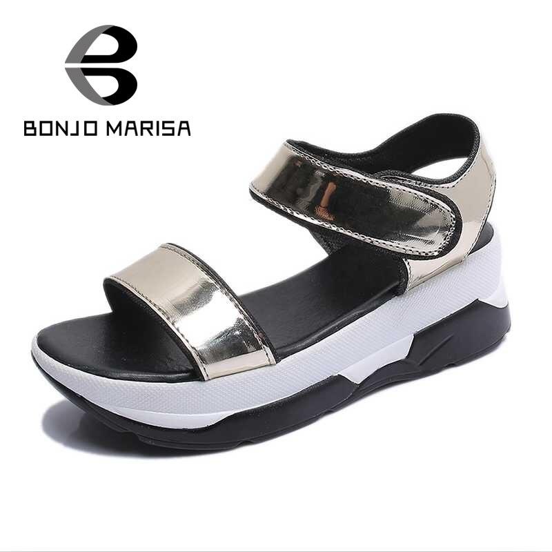 ФОТО BONJOMARISA Women Summer Shoes High Heel Wedges Open Toe Platform Sandals For Woman Ankle Strap Beach Leisure Footwear